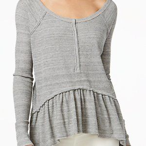 FP We the Free Hi-Lo Coastline Peplum Henley Gray